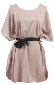 Apricot Batwing Sleeve Drawstring Waist Silk Dress