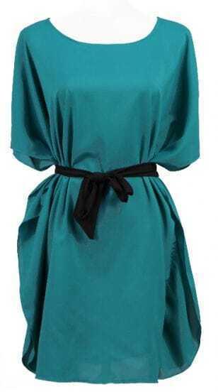 Blue Batwing Sleeve Drawstring Waist Silk Dress