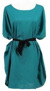 Blue Batwing Sleeve Drawstring Waist Silk Dress
