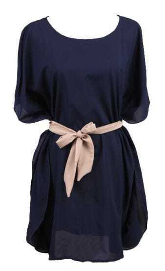 Navy Batwing Sleeve Drawstring Waist Silk Dress