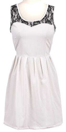 White Sleeveless Lace Shoulder Chiffon Dress