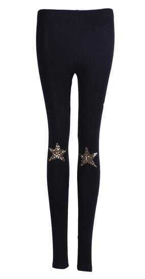 Black Skinny Sequined Star Leggings