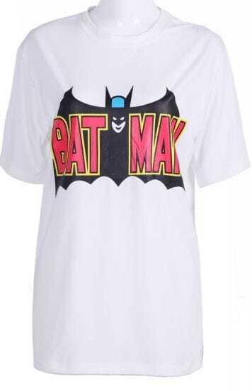 White Short Sleeve BATMAN Print Loose T-Shirt