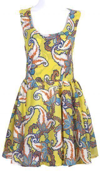 Yellow Sleeveless Backless Floral Chiffon Dress
