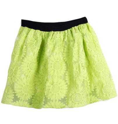 Green Elastic Waist Lace Sunflower Skirt