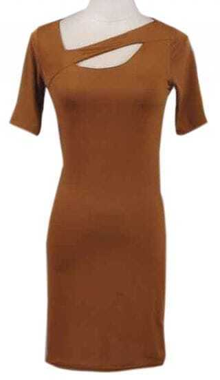 Brown Short Sleeve Hollow Body-Conscious Dress