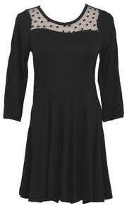 Black Long Sleeve Contrast Mesh Yoke Pleated Dress