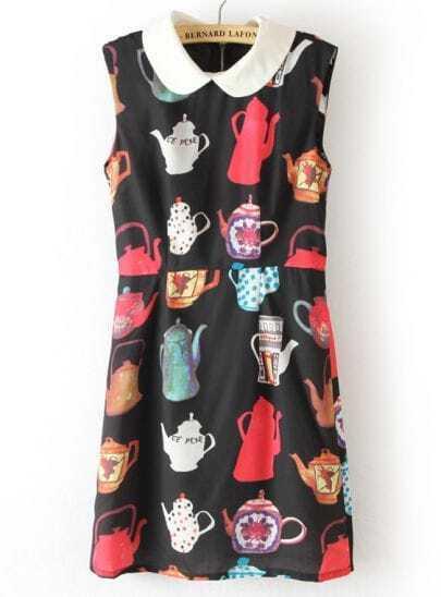 Black Sleeveless Kettle Print Back Zipper Dress