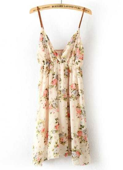 Pink Spaghetti Strap Sleeveless Floral Dress