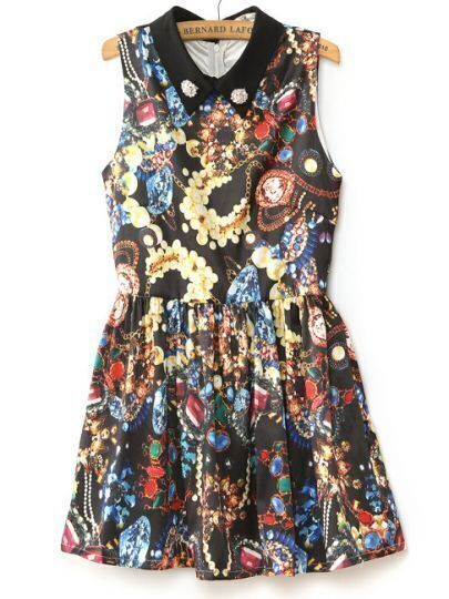Black Sleeveless Beading Gemstone Print Tank Dress