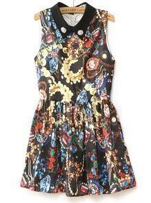 Black Sleeveless Beading Gemstone Print Tank Dress