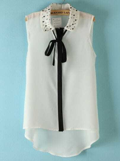 White Sleeveless Rhinestone Ribbon Chiffon Blouse