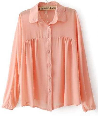Pink Lapel Long Sleeve Pleated Chiffon Blouse
