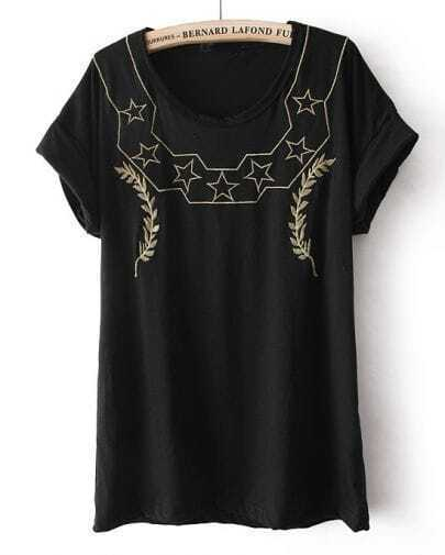 Black Short Sleeve Stars Panicle Embroidery T-Shirt