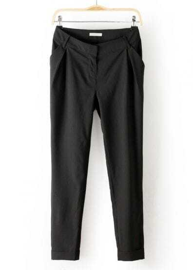 Black Mid Waist Pockets Loose Pant