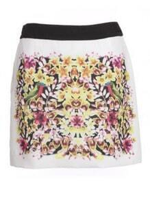 White Elastic Waist Floral Chiffon Skirt