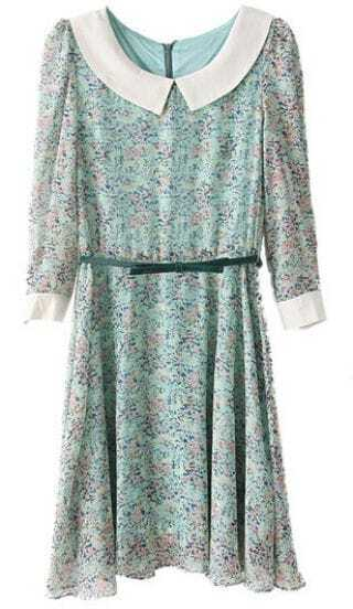 Green Long Sleeve Drawstring Floral Chiffon Dress