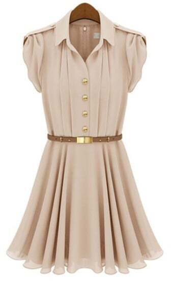 Apricot Lapel Buttons Bandeau Pleated Chiffon Dress