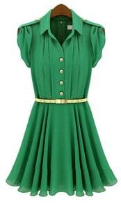 Green Lapel Buttons Bandeau Pleated Chiffon Dress