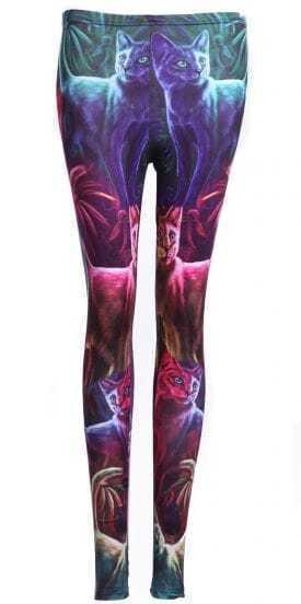 Multi Skinny Galaxy Cats Print Leggings
