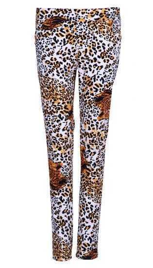 White Leopard Street Cotton Pant