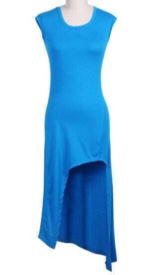Blue Sleeveless Asymmetrical Split Dress