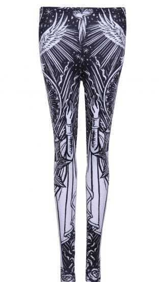 Black White Skinny Virgin Mary Print Leggings