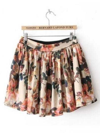 Beige High Waist Floral Pleated Skirt