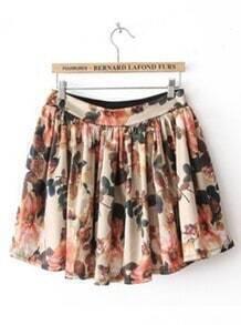 Beige High Waist Floral Pleated Skirt