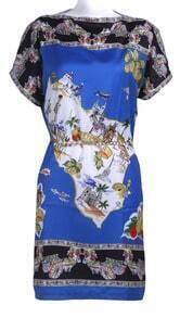 Blue Short Sleeve Map Print Chain Chiffon Dress