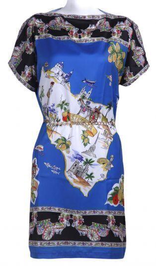 Blue Short Sleeve Map Print Chain Chiffon Dress