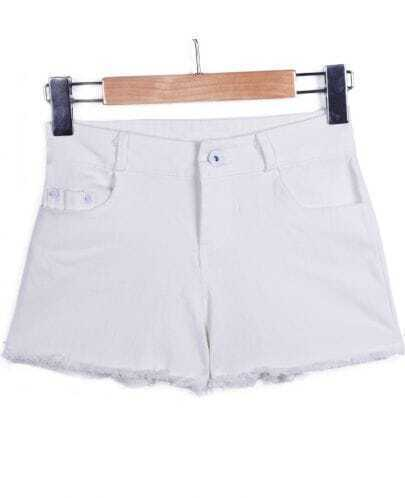 White Button Fly Fringe Pockets Shorts