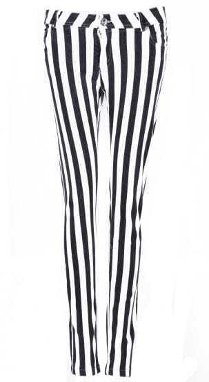 Black and White Vertical Stripe Elastic Pant