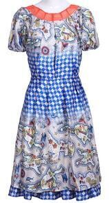 Blue Contrast Collar Short Sleeve Plaid Chiffon Dress