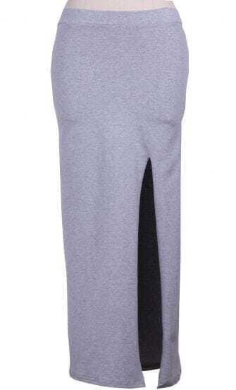 Grey Elastic Waist Asymmetrical Split Skirt