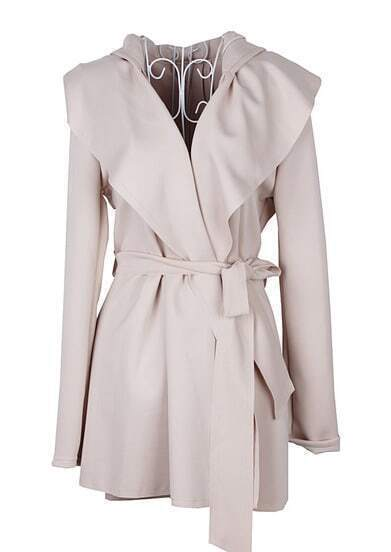 Apricot Hoodie Belt Waist Open Long Coat