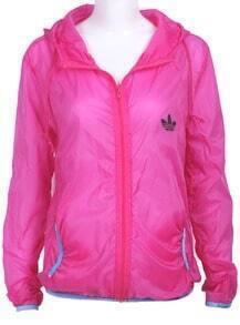 Rose Red Long Sleeve Hoodie Rain-Proof Sheer Jacket