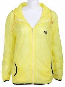 Yellow Long Sleeve Hoodie Rain-Proof Sheer Jacket