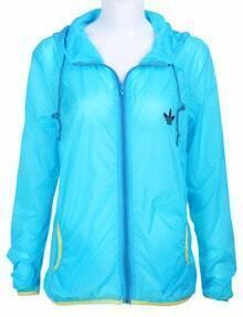 Blue Long Sleeve Hoodie Rain-Proof Sheer Jacket