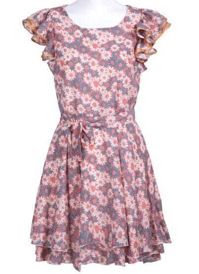 Pink and Blue Ruffles Sleeve Chrysanthemum Print Chiffon Dress