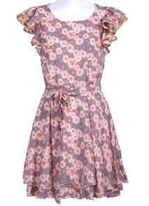 Pink and Blue Ruffles Sleeve Chrysanthemum Print Chiffon Dress