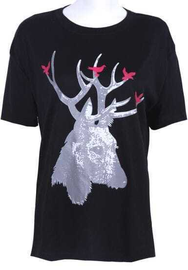 Black Short Sleeve Deer Print Cotton T-shirt