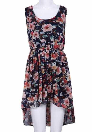Navy Sleeveless Floral High Low Chiffon Dress
