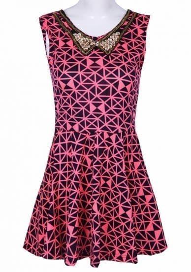 Rose Red V Neck Sleeveless Geometric Print Dress