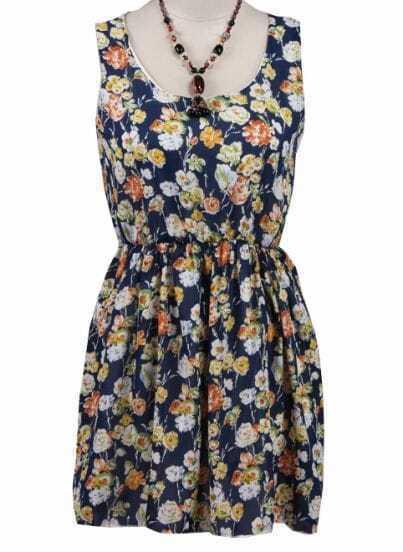 Blue Sleeveless Floral Bandeau Chiffon Dress