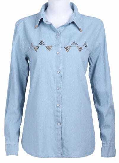 Blue Long Sleeve Triangle Rivet Denim Blouse