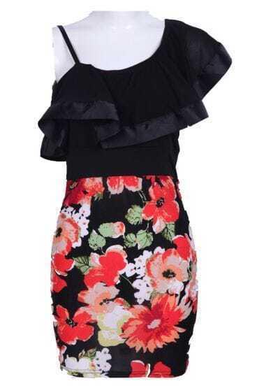 Black One-Shoulder Spaghetti Strap Floral Dress