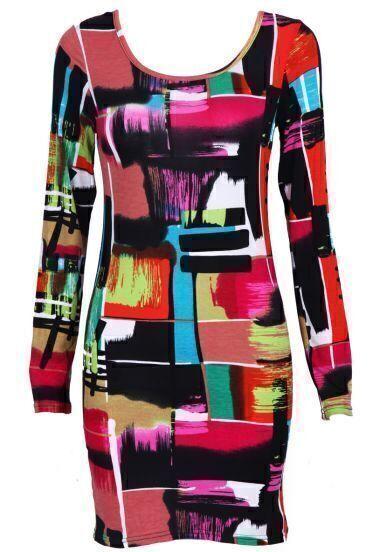 Multi Long Sleeve Geometric Print Bodycon Dress