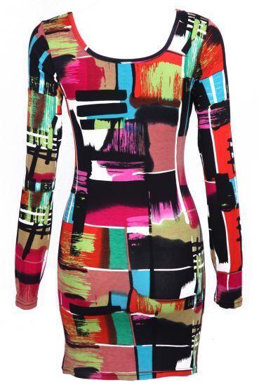 Multicolored bodycon dress