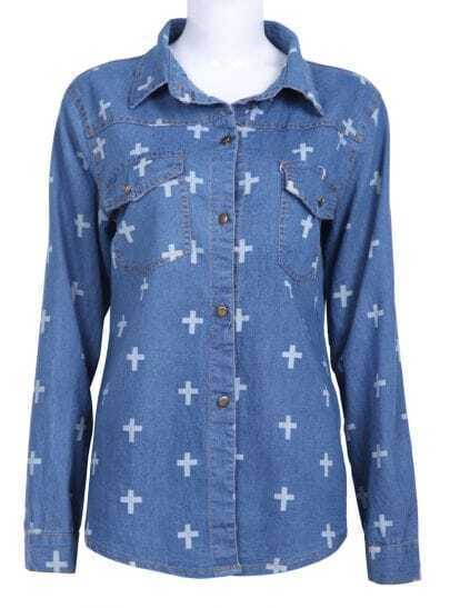 Blue Lapel Long Sleeve Cross Print Denim Blouse